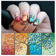 Nails of all seasons. @Dusty Delano, this is what I was talking about with the tree on four canvases