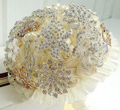 Alta qualidade de casamento marfim Bouquet Artificial luxuoso brilhante Rhinestone noiva segurar flores broche Bouquet em Buquê de Casamento de Casamentos & eventos no AliExpress.com | Alibaba Group