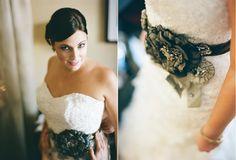 Gorgeous belt with a wedding dress!