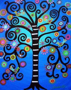 Whimsical, Tree of Life, Bar, Bat, Mitzvah, Judaica, Mexican Painting, Folk art, prisarts, pristine cartera-turkus, painting, florals, flowers, blooms, trees: