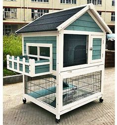 Garden window makes this cage a great decoration to your garden. Raised Floor to Keep Your Pet Dray and Safe. Roof can be opened,easy to clean. Diy Bunny Cage, Diy Guinea Pig Cage, Guinea Pig Hutch, Guinea Pig House, Bunny Cages, Diy Bunny Hutch, Rabbit Cage Diy, Rabbit Cages Outdoor, Rabbit Hutch Indoor