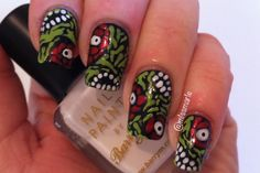 Zombie Nail Art Design in lime green, coral, black and white...........YEESH!!!