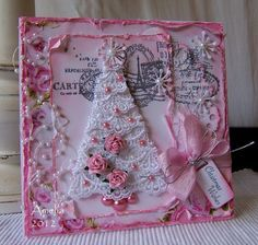 pink shabby Christmas card with a lace tree... Beyond Beautiful!