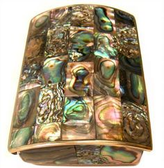 ANTIQUE ABALONE JEWELRY BOX, CASKET, ALPACA SILVER: