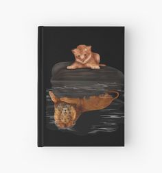 Cute little simba and the big old lion king reflection  Hardcover Journals #HardcoverJournals #Hard  #thelion #cat #kitten #animals #kitty #kittens #lion #lionking #younglion #animals #bigkittens