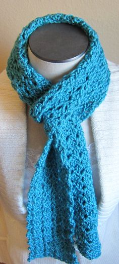 Crochet Scarf Blue Made with Fine Sport Weight Yarn by Kitkateden, $18.00