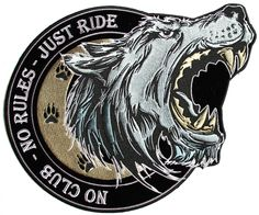 Large Lone Wolf No Club No Rules Just Ride Embroidered Biker Sew on Patch | eBay