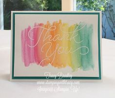 Watercolor Wash Thank You featuring Stampin' Up! Watercolor Pencils from the Occasions catalog. The stamp set, So Very Much is FREE with a $50 purchase until 3-31-17. by Tracy Bradley www.stampingwithtracy.com