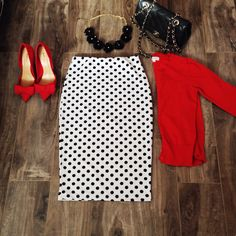 Red Cardigan and Polka dot pencil skirt! #modestoutfits