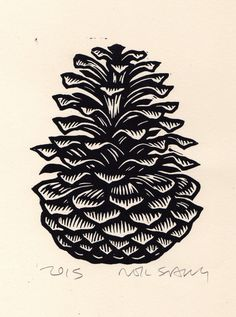 Pine Cone Linocut Art Print Fall and Winter Art by HorseAndHare