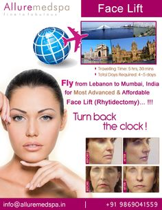 Face Lift is procedure to which can give you a more youthful appearance by reducing saggy skin and wrinkles by Celebrity Face Lift surgeon Dr. Milan Doshi. Fly to India for Face Lift surgery (also known as Rhytidectomy, Face Lifting, Mini Face Lift) at affordable price/cost compare to Beirut, Tripoli, Djounie,LEBANON at Alluremedspa, Mumbai, India.  For more info- http://www.Alluremedspa-lebanon.com/cosmetic-surgery/face-surgery/face-lift.html