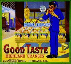 Highland CA, Good Taste Brand fruit crate label