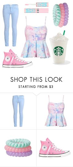 """Sugar Sweet"" by dreamsofwonderlandx ❤ liked on Polyvore featuring Current/Elliott, Converse and Maybelline"