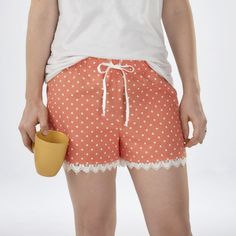 Whip up a quick pair of pajama shorts almost completely with your serger! Stephanie Struckmann will show you how to easily add a cute touch of lace and a drawstring using your serger, as well! | Happy National Serger Month from Baby Lock!