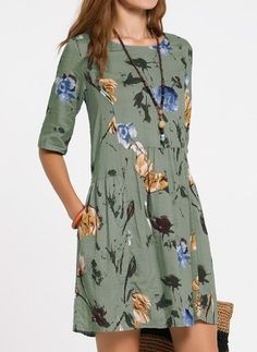 Shop Floryday for affordable A line Dress Dresses. Floryday offers latest ladies' A line Dress Dresses collections to fit every occasion. Women's Fashion Dresses, Casual Dresses, Casual Outfits, Floryday Dresses, Half Sleeve Dresses, Half Sleeves, Manga Floral, Floryday Vestidos, Summer Dress
