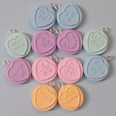 12 Love Hearts Charms - handmade from fimo polymer clay.