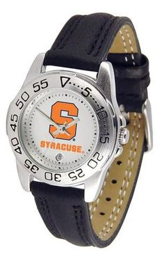 Syracuse Orangemen ladies watch with leather sports band. Women's Orange watch comes with a genuine leather strap, date calendar, and rotating bezel/timer that circles the scratch-resistant crystal. T