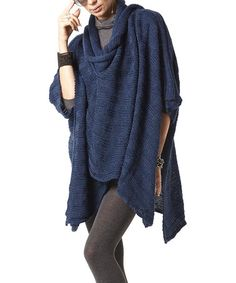 Look what I found on #zulily! Navy Ribbed Wrap Poncho by Scarlett #zulilyfinds