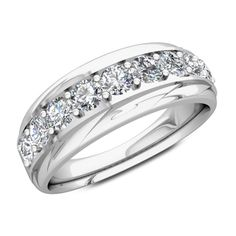 Men's Diamond Wedding Ring His 14k White Gold