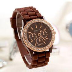 Gift-HK Fashion Unisex Geneva Diamond Wrist Watches 13 Colors Available Brown