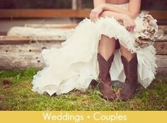 def gonna wear cowboy boots on my wedding day! all the bridesmaids are gonna write a message on the bottom of them! Wedding Pics, Farm Wedding, Wedding Engagement, Rustic Wedding, Dream Wedding, Wedding Day, Wedding Dresses, Wedding Stuff, Engagement Pics