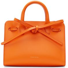 Mansur Gavriel Orange Mini Mini Sun Tote ($500) ❤ liked on Polyvore featuring bags, handbags, tote bags, orange, purse tote, drawstring tote bags, man bag, mini handbags and drawstring tote