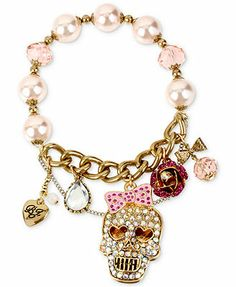 Betsey Johnson Bracelet, Two-Tone Crystal Skull Multi-Charm and Bead Stretch Bracelet