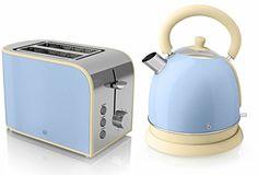 Swan Kitchen Appliance Retro Set - Cream 1.5L Jug Kettle & Cream ...