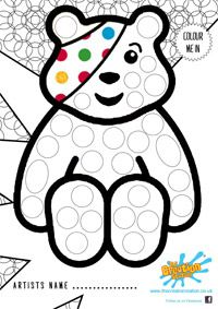 Pudsey Bear Colouring Page for Children in Need Sensory Activities Toddlers, Work Activities, Color Activities, Nursery Activities, Bear Coloring Pages, Coloring Sheets, Children In Need Cakes, Bear Crafts, Graffiti
