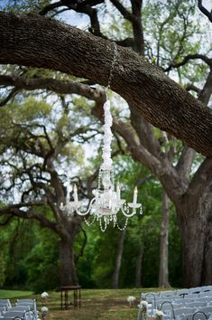 Love, love, love this hanging chandelier! #shabbychic #weddingdecor {@jennlucia}