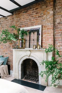 Style Your Mantle - Small Additions That Make Your Home Feel Way More Expensive - Photos Farmhouse Fireplace Mantels, Shiplap Fireplace, Freestanding Fireplace, Concrete Fireplace, Marble Fireplaces, Modern Fireplace, Living Room With Fireplace, Fireplace Design, Fireplace Ideas