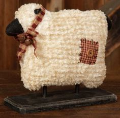 Charming Country Sheep On A Wood Base Is A Perfect Primitive Addition. This  Country Primitive