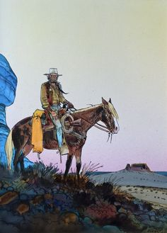 1989 - Blueberry : Couverture américaine by Jean Giraud, Moebius - Original… Jean Giraud, Moebius Comics, Moebius Art, Western Comics, Western Art, Serpieri, Art Occidental, Westerns, Science Fiction