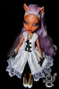 monster high repaint custom doll ooak pastel lavender rococo Clawdeen - Macaron