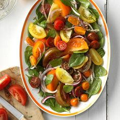 You have some beautiful heirloom tomatoes from the garden, now what? These fresh and tasty heirloom tomato recipes put the beauties to work. Heirloom Tomato Recipes, Spinach Salad Recipes, Heirloom Tomatoes, Vegetable Recipes, Healthy Cooking, Healthy Eating, Cooking Recipes, Healthy Recipes, Cooking Tips