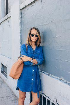 denim shirt dress, c