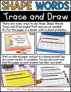 Shapes Tracing and Draw is a fun way to learn how to read and write shape words and draw shapes! Shape tracing   letter shaping   letter sounds activities   beginning letter sounds worksheets   kindergarten printing letters