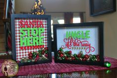 Christmas shadow boxes. Sentiments cut on Cameo from vinyl