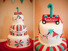 cutest red wagon cake!