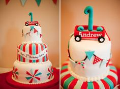 cutest red wagon cake!