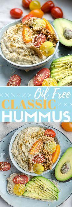 Gluten free vegan oil free hummus! Healthy oil free hummus. Classic hummus recipe. Plant based recipes.