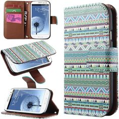 Amazon.com: Galaxy S3 Case,ULAK S3 Case Green Aztec Tribal Hybrid Folio PU Leather Wallet Case Flip Stand Cover FOR SAMSUNG Galaxy S3 i9300 S III+Screen Protector (Green): Cell Phones & Accessories