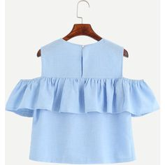SheIn(sheinside) Blue Open Shoulder Ruffle Top ($15) ❤ liked on Polyvore featuring tops, frilly tops, collar top, flutter-sleeve top, short sleeve tops and embellished tops