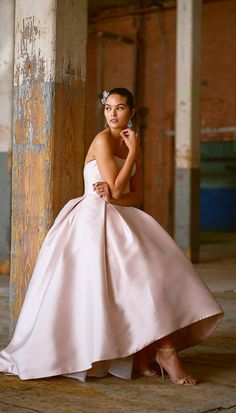 """#Ad This blush high-low look is everything! ERICA wedding dress from @maggiesottero value-conscious Rebecca Ingram collection. This Reena Mikado ballgown features a strapless scoop neckline, box pleats, and pockets in the high-low skirt, shown in Vintage Rose. From the Fall 2018 """"Camille"""" bridal collection. . . #RebeccaBride #RebeccaIngram #MaggieSotteroDesigns #Sponsored #WeddingDress #WeddingGown #Bridal #Wedding #Blush #BlushWeddingDress #BlushWedding #TeaLength #HighLow"""