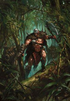 m Barbarian Medium Armor Helm Shield Wild Boars Jungle path Garruk Caller of Beasts MtG Planeswalker Art Fantasy Figures, Fantasy Characters, Magic The Gathering, Medieval Fantasy, Dark Fantasy, Mtg Planeswalkers, Hidden Art, Mtg Art, Fantasy Kunst