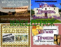 Westward Expansion BUNDLED PACK {Differentiated Close Reading Passages & Questions}  Gold Rush-Lexile levels included: 820, 700, 630. Oregon Trail-Lexile levels included: 950, 820, 750. Texas Annexation-Lexile levels included: 790, 660, 570. Lewis & Clark-Lexile levels included: 720, 640, 560.