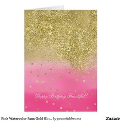 Pink Watercolor Faux Gold Glitter Beautiful Card