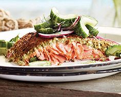 Falafel-Crusted Salmon with Herbed Cucumber Salad