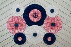 Pink and Navy Nautical Set of Nine 9 Paper by ThePapierStudio