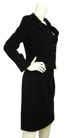 CHANEL Black Cashmere Jacket & Skirt Suit Set Sz. 42 | From a collection of rare vintage suits, outfits and ensembles at http://www.1stdibs.com/fashion/clothing/suits-outfits-ensembles/